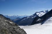 Oberaarjochhütte SAC (3256müM); Panorama mit Monte Rosa, Mischabel, Matterhorn, Weisshorn und Wannenhorn