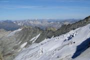 Oberaarjochhütte SAC (3256müM); Piz Medel, Rheinwaldhorn und Piz Bernina