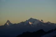Oberaarjochhütte SAC (3256müM); Matterhorn, Dent d'Herens, Weisshorn, Dent Blanche