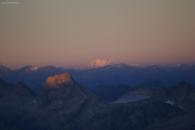 Oberaarjochhütte SAC (3256müM); Sonnenuntergang: Piz Bernina