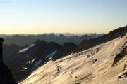 Oberaarjochhütte SAC (3256müM) morgens: Oberaargletscher, Sidelhorn