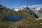 Triebtenseewli; Oberaargletscher (l), Unteraargletscher mit Lauteraar- und Schreckhorn (r)