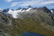 Oberhalb des Triebtenseewli;  Oberaargletscher mit Oberaarjoch, Oberaarhorn (m) und Finsteraarhorn
