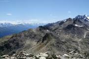 Sidelhorn (2764müM); Obergoms mit Monte Rosa, Mischabel mit Dom, Matterhorn, Weisshorn, rechts Vorder und Hinter Galmihorn