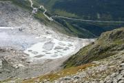 Rhonegletscher mit neuem See am Eisrand, Furkapassstrasse und DFB bei Belvédère