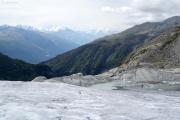 Rhonegletscher; Eisrand mit See, Mischabel, Matterhorn, Weisshorn