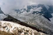 Tschiervahütte SAC: Tschiervagletscher, Piz Roseg in schweren abendlichen Wolken