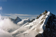 Piz Morteratsch (3751 m): Piz Bernina mit Biancograt, Piz Scerscen, Piz Roseg