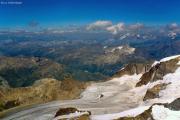 Piz Bernina (4049 m): Blick gen Nordost, Diavolezza, Persgletscher