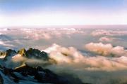 Piz Bernina (4049 m): Blick gen Süden, Po-Ebene