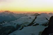 Rif. Marco e Rosa CAI (It.,3597 m): Sonnenuntergang mit dem Monte Disgrazia