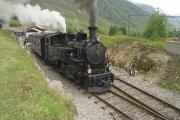 HG 3/4 Nr. 4 in Realp mit dem ersten Zug der Saison 2011 nach Oberwald