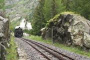 HG 3/4 Nr. 4 bei der Rhonequelle auf Talfahrt nach Oberwald