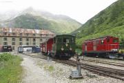 HG 2/3 Nr.6 mit Extrazug erreicht Gletsch. Abgestellt die HGe 4/4 Nr. 16 ex BVZ