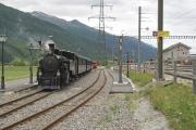HG 3/4 Nr. 4 in Oberwald mit erstem Regelzug nach Reap anno 2011