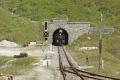 Zug 155 mit HG 3/4 Nr.4 nach Oberwald verlässt in Muttbach den Scheiteltunnel