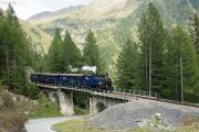 HG 3/4 Nr.1 mit Regelzug nach Oberwald auf dem Lammenviadukt