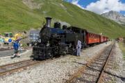 HG 3/4 9 vor Regelzug nach Oberwald in Furka