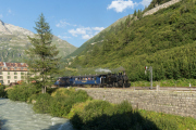 Abendlicher Sonderzug Realp-Gletsch mit HG 3/4 9 in Gletsch