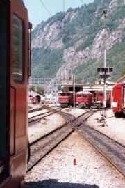Depot in Brig mit BVZ HGe 4/4 I, HGm 4/4 und HGe 4/4 I. 1982