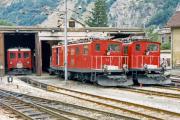 HGe 4/4 I 31 und 73, BDeh 2/4 45 in Brig. 1987