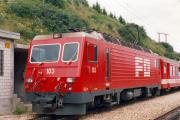 HGe 4/4 II 103 in Tschamut-Selva. 1988