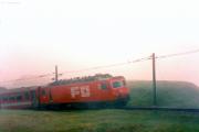 HGe 4/4 II 103 im Nebel unterhalb Nätschen. 1988