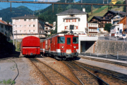 Deh 4/4 I 52 in Disentis ankommend. 1988