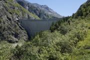 Mauvoisin --> Cab. Chanrion |  Staumauer des Lac de Mauvoisin. Höchste Bogenstaumauer Europas (250m)