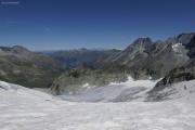 Chanrion --> Cab. des Vignettes |  Glacier de Pièce. Berner Alpen mit Wildstrubel, Balmhorn und Blümlisalphorn (vlnr)