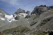 Cab. des Vignettes --> Cab. de Bertol |  Plans de Bertol; Pointe de Bertol mit der Cabane de Bertol. Aufstieg zur Hütte