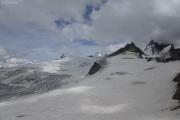 Cabane de Bertol CAS (3311müM) |  Glacier du Mont Miné. Matterhorn, Tête Blanche, Dent d'Hérens, Dents de Bertol (vlnr)