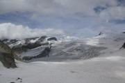 Cabane de Bertol CAS (3311müM) |  Glacier du Mont Miné. Dent Blanche (verdeckt), Matterhorn (vlnr)