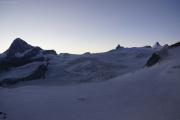 Cabane de Bertol CAS (3311müM) |  Glacier du Mont Miné. Dent Blanche, Matterhorn, Tête Blanche, Dent d'Hérens