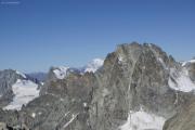 Cab. de Bertol --> Schönbielhütte |  Tête Blanche (3707müM); La Singla, Mont Blanc, Dents des Bouquetins  (vlnr)