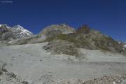 Cab. de Bertol --> Schönbielhütte     Aufstieg zur Schönbielhütte über den Schönbielgletscher, die Moräne und durch die Felswand
