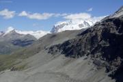 Schönbielhütte SAC (2694müM) |  Monte Rosa mit Nordend und Dufourspitze, Zumsteinspitze, Signalkuppe