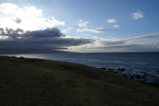 Hoʻokipa bei Pa'ia, Kahului-Bucht mt den West Maui Mountains, Maui, Hawai'i