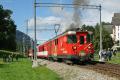 100 Jahre Brig-Gletsch! Sonderzug Brig-Oberwald mit HG 3/4 9 der DFB in Lax. Überholung durch einen Regionalzug mit Deh 4/4 I 52