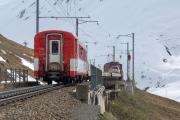 HGe 4/4 I 36 vor Autozug über den Oberalppass; ob Andermatt