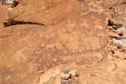 Petroglyphen bei Twyfelfontein. Schultafel zu Tierspuren
