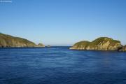 Fähre von Picton nach Wellington. Ausgang aus dem Tory Channel. Marlborough Sound