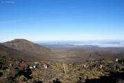 Tongariro Crossing. Auf dem Sattel über dem Devil's Starcase.