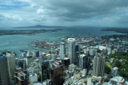Auckland. Sky Tower. City mit Davenport und Rangitoto Island