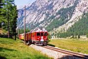 ABe 4/4 54 zwischen Surovas und Morteratsch. 1990
