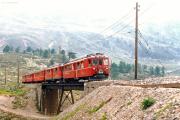 ABe 4/4 47 und ein weitere TW II auf der oberen Berninabach-Brücke ob der Alps da Buond. 1990