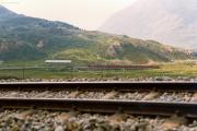Zug mit zwei TW II auf der Alps da Buond. 1990