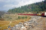 Zug mit zwei TW II oberhalb Alp Grüm. 1990