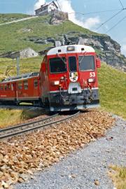 ABe 4/4 53 in der Schleife von Alp Grüm. 1990