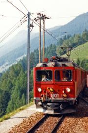 Gem 4/4 801 in Cadera. 1990